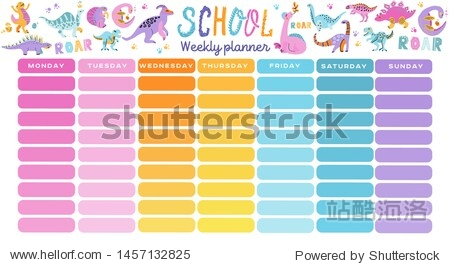 Template school timetable. Illustration includes hand drawn cartoon dinosaur characters. Seven rainbow columns to fill. Education design hand drawn doodle flat color illustration.