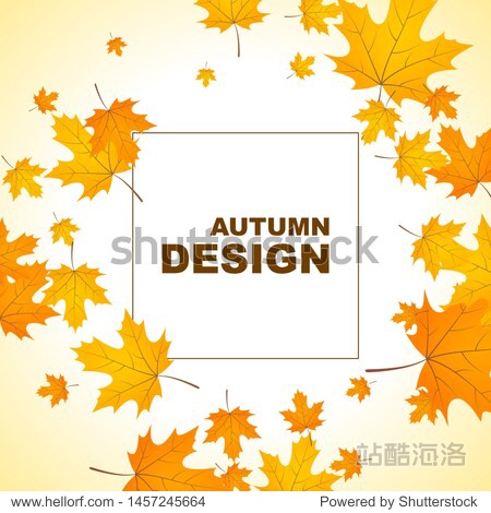 Abstract autumn background with yellow leaves of maple. Vector illustration with withered foliage.