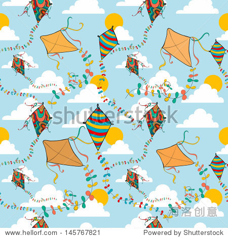 Vibrant colors spring flying kite seamless pattern. Vector file layered for easy manipulation and custom coloring.