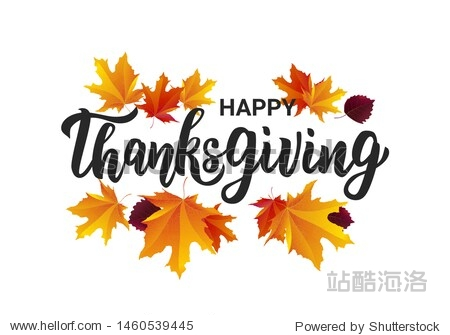 Happy Thanksgiving hand lettering text. Typography for logo  icon  card  invitation and banner template. Greeting card for Thanksgiving day celebration. Vector illustration.