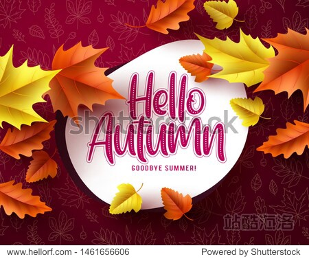 Hello autumn vector banner greeting template. Hello autumn text in white space with seasonal dry maple leaves falling in red pattern background. Vector illustration.