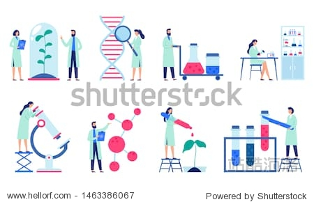 Research scientist. Science laboratory  chemistry scientists and clinical lab. Medical research items  clinical science laboratories experiments. Isolated flat vector illustration icons set