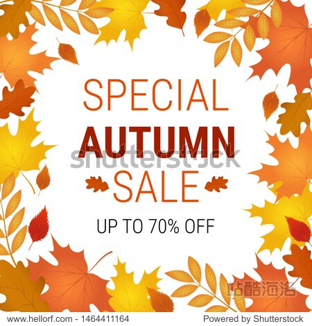 Autumn offer banner.Special sale. Vector background with  falling autumn leaves.