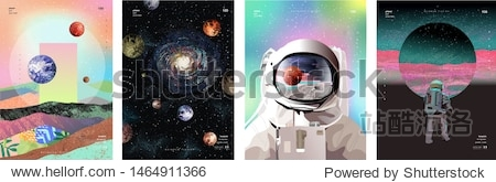 Vector illustration of space  cosmonaut and galaxy for poster  banner or background. Abstract drawings of the future  science fiction and astronomy