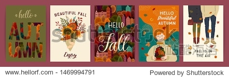 Set of cute autumn illustrations. Vector templates for card  poster  flyer  cover and other use. Trendy retro style