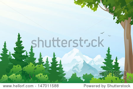 Vector illustration of a forest at the mountains