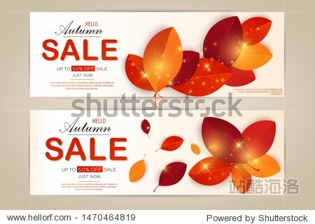 Set vector banners with red  orange  brown and yellow autumn leaves.