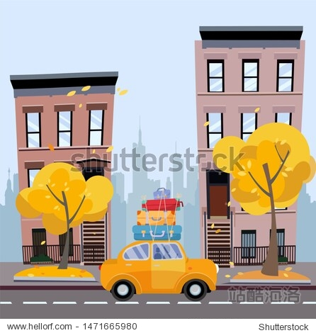 Yellow car with suitcases on the roof against background of autumn cityscape. City landscape with small houses  silhouette of multi-storey buildings with yellow trees.Flat cartoon illustration