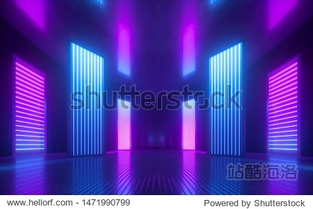 3d render  blue pink violet neon abstract background  ultraviolet light  night club empty room interior  tunnel or corridor  glowing panels  fashion podium  performance stage decorations