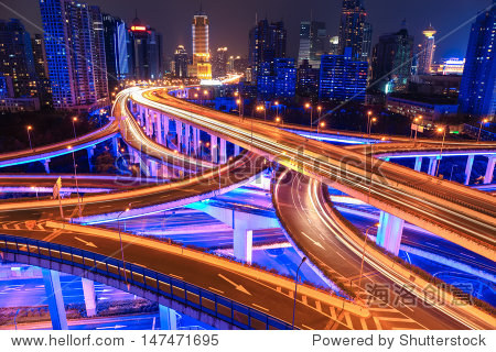 colorful city interchange overpass at night in shanghai China