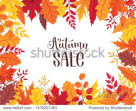 Bright autumn leaves frame isolated on white background. Autumn sale banner vector illustration.