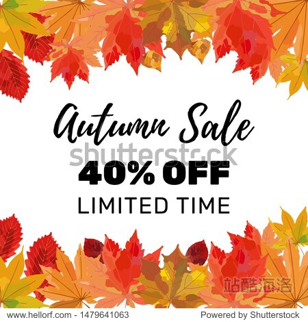 Autumn sale banner design with discount text label and colorful autumn leaves for fall season shopping promotion. Vector illustration.