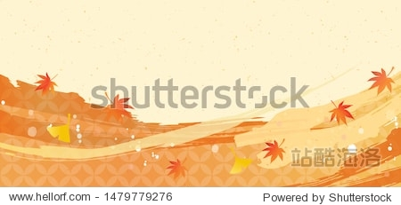 Background material with illustrations of autumn leaves in the lower part