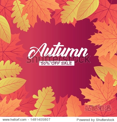 Autumn sale background layout decorate with leaves for shopping sale or promo poster and frame leaflet or web banner. Vector illustration template.