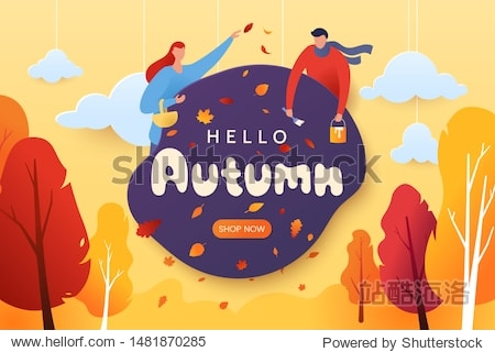 Hello autumn vector illustration. Decorative autumn greeting card with characters  falling leaves  and red-yellow trees. Paper cut style. Fall season. Applicable for web banner  poster. Eps 10.