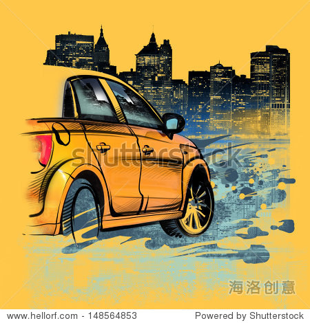 Painted yellow car on a night in New York. USA. Drawing hand. Rain  puddle  splashing water. Pencil drawing and watercolor. City landscape. A vivid illustration on a yellow background. Urban style