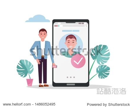 Man with mobile big phone. Accepted male face on smartphone screen  face id concept background  personality recognition  identification. Flat vector illustration