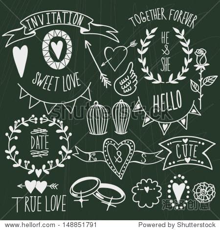 Wedding graphic set: arrows  hearts  laurel  wreaths  ribbons wings  cages  flowers  hand drawn letters and labels.