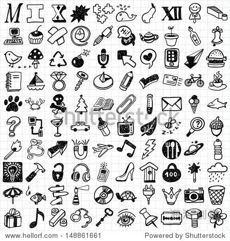 100 mix hand drawn icons