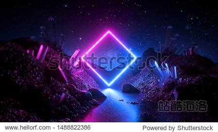 3d render  abstract neon background  mystical cosmic landscape  pink blue glowing ring over terrain  square frame  virtual reality  dark space  ultraviolet light  crystal mountains  rocks  ground