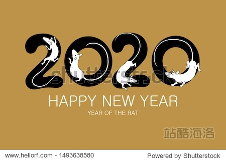 year of the rat 2020 sign lettering numbers calendar front page template greeting card design Vector illustration eps 10