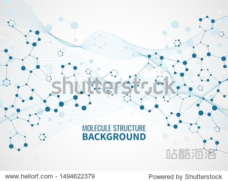 Molecular structure background. Pharmaceutical biochemistry  medical technology. Atom model and dna chain science vector abstract molecules futuristic scientific concept