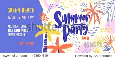 Summer party vector banner template. Open air festival invitation decorated with palm trees and colorful scratches. Music fest ticket. Seasonal outdoor dance party  concert poster design.