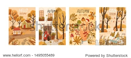 Autumn mood hand drawn poster templates set. Fall season nature flat vector illustrations. People enjoying cozy pastime  reading book  gathering mushrooms  chestnuts. Welcoming autumn postcards pack.
