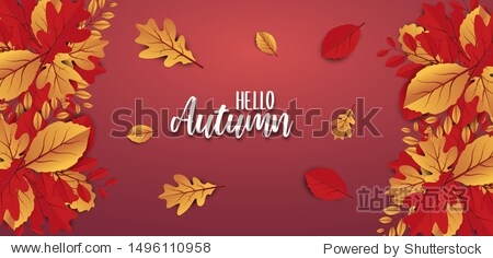 Abstract colorful leaves decorated  background for  Hello Autumn advertising header or banner design. Paper cut art design. Vector Illustration.
