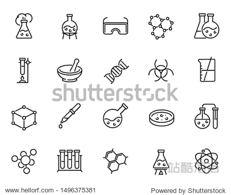 Chemical lab research vector linear icons set. Scientific laboratory test and analysis thin line illustrations pack. Chemistry and biotechnology design elements. Molecules isolated cliparts collection