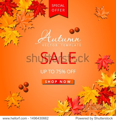 Autumn maple leaves sale layout. Special offer social network square post template orange background
