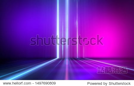 Ultraviolet abstract light. Diode tape  light line. Violet and pink gradient. Modern background  neon light. Empty stage  spotlights  neon. Abstract light.