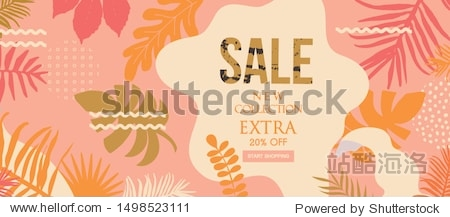 Sale website banner. Sale tag. Sale promotional material vector illustration. Design for ad  social media banner  brochure  email  flyer  leaflet  newsletter  placard  poster  web sticker