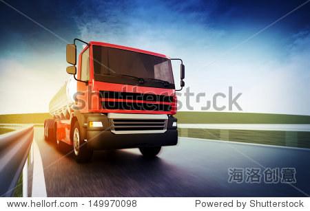 3d illustration of a red truck on blurry asphalt road under blue sky and sunset light
