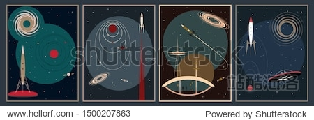 Retro Futurism Space Posters  Mid Century Modern Style Illustrations