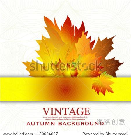 Vintage Autumn leaves design elements