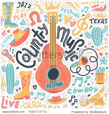 Set of Country music elements for postcards or festival banners. Vector hand drawn illustration in flat style. Guitar with written lettering