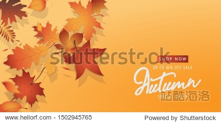 Autumn sale digital luxury poster. Banner sale advertising with orange gold falling leaves. 3D space graphic on orange background. Vector illustration.
