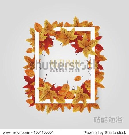 Autumn white leaf frame vector