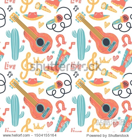 Doodle vector seamless background with acoustic guitar and cowboy elements. Ornament for Poster country music concert  festival