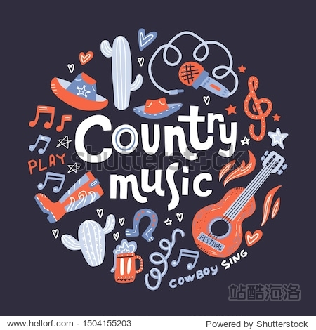 Country music. Illustration with acoustic guitar and hand lettering. Great elements for music festival or t-shirt. Vector concept in flat style