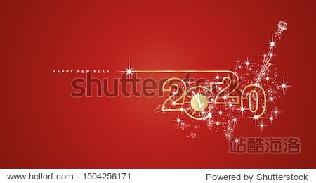 New Year 2020 line design gold clock sparkle firework champagne white red vector