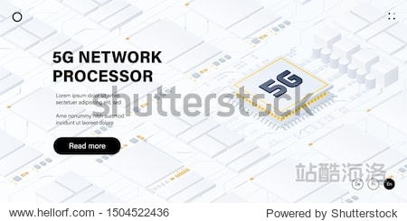 5G network processor illustration. Mobile wireless internet of next generation. Isometric futuristic micro chip. Web page design template