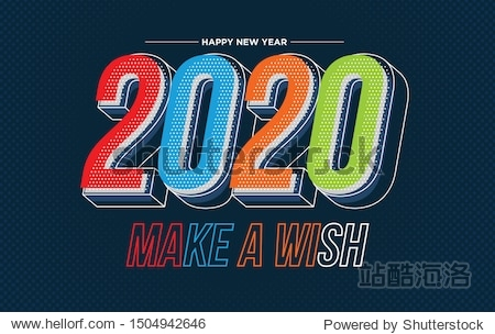 Happy New Year 2020 colorful banner style for the seasonal holidays flyers  greetings and invitations  christmas themed congratulations and cards. Vector illustration.
