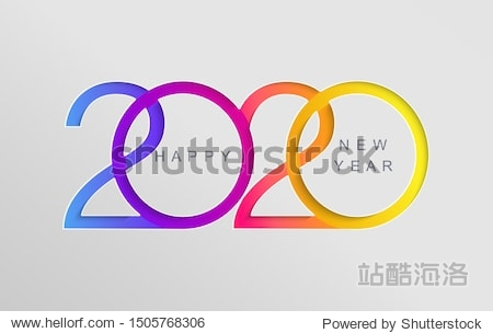 Happy 2020 new year elegant card in paper style for your seasonal holidays banners  flyers  greetings  invitations  business diares  christmas themed congratulations and posters. Vector illustration.