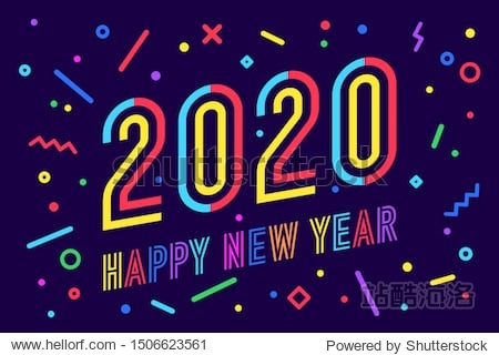 2020  Happy New Year. Greeting card with inscription Happy New Year 2020. Memphis geometric bright style for Happy New Year 2020 or Merry Christmas. Holiday background  poster. Illustration