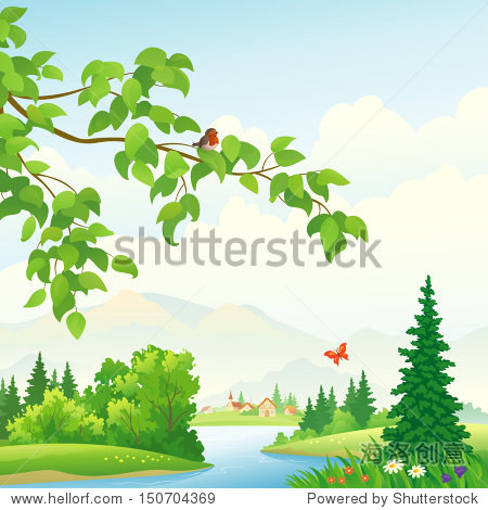 Vector illustration of a beautiful rural alpine landscape with a leafy branch