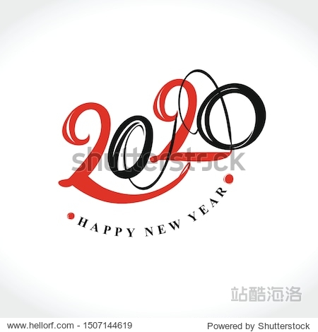 Handwritten 2020 vector logo. Flat vector template 2020 with wishes. Happy New Year. Design template card  cover  calendar   brochure  poster  banner.