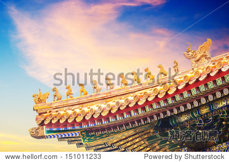 Roof of the Hall of Supreme Harmony, at the Forbidden City, Beijing.  The number of  characters indicate that this was a building of the highest importance in Imperial times. With copy space.