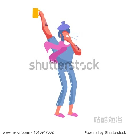 Man having a cold. A guy in pink scarf bowing out in handkerchief with ice cup on his head. Male Human character with mug of hot drink on white bakcground. Modern Cartoon Flat Vector Illustration